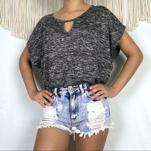 American Eagle | Heather Black Blouse, Size Small